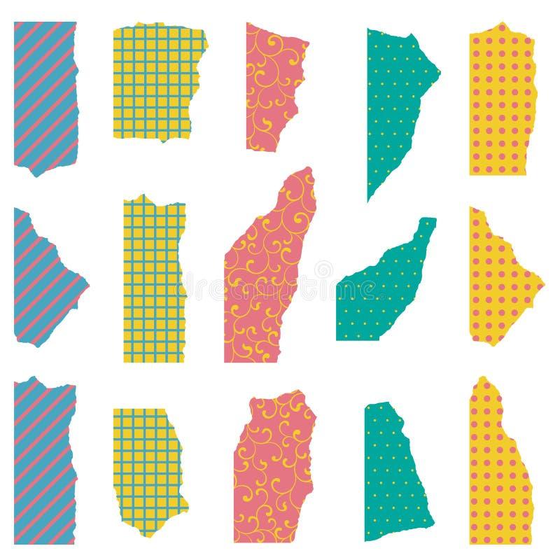 Conjunto del modelo incons?til Papel coloreado rasgado con diversas texturas y ornamentos aislados en el fondo blanco stock de ilustración