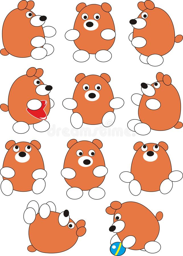 Conjunto del oso del bebé de la historieta stock de ilustración