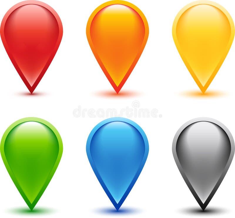Conjunto del Pin coloreado stock de ilustración