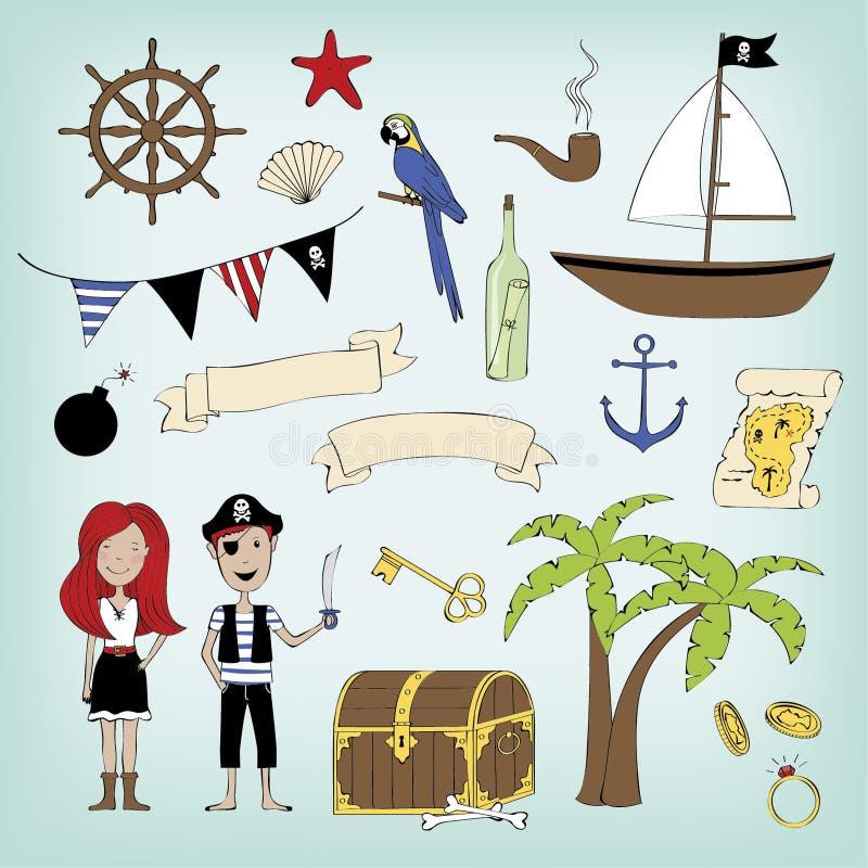Conjunto del pirata ilustración del vector
