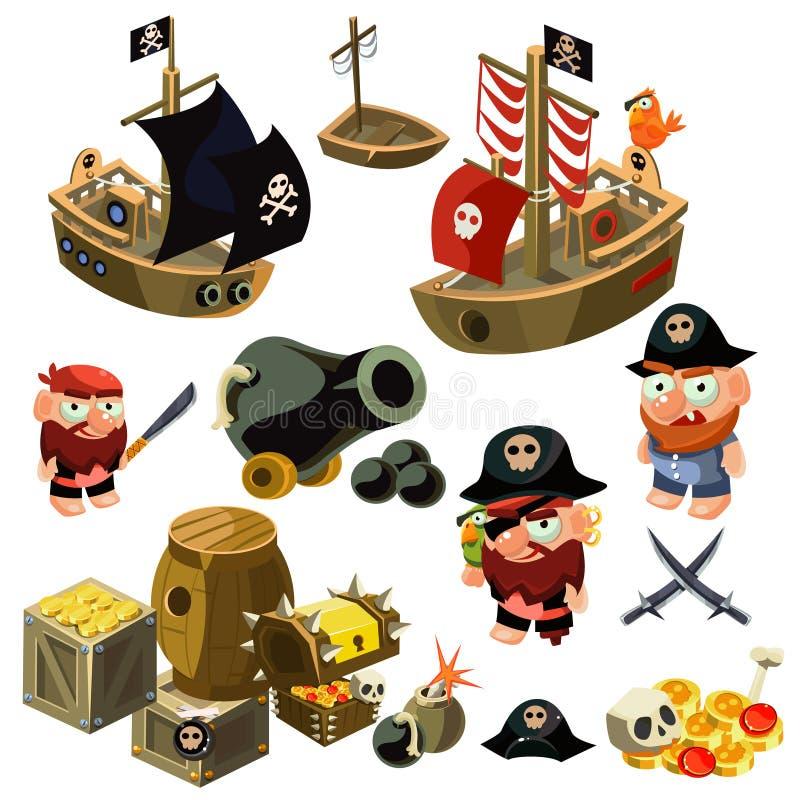Conjunto del pirata Ilustración del vector libre illustration