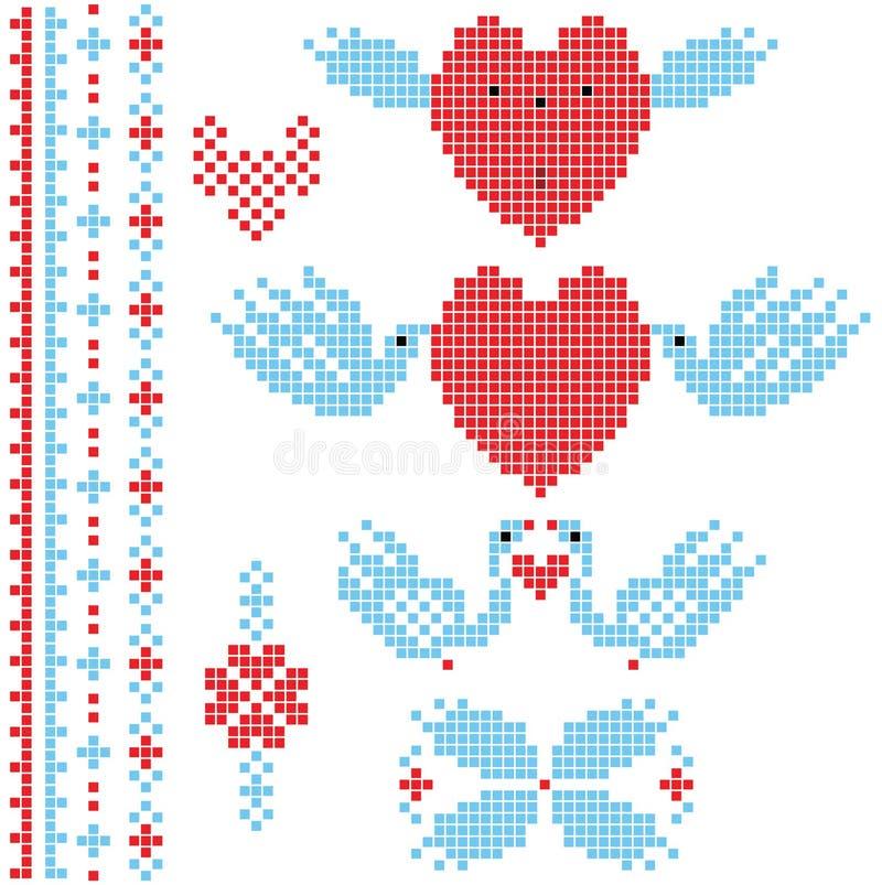 Conjunto del pixel de la boda ilustración del vector