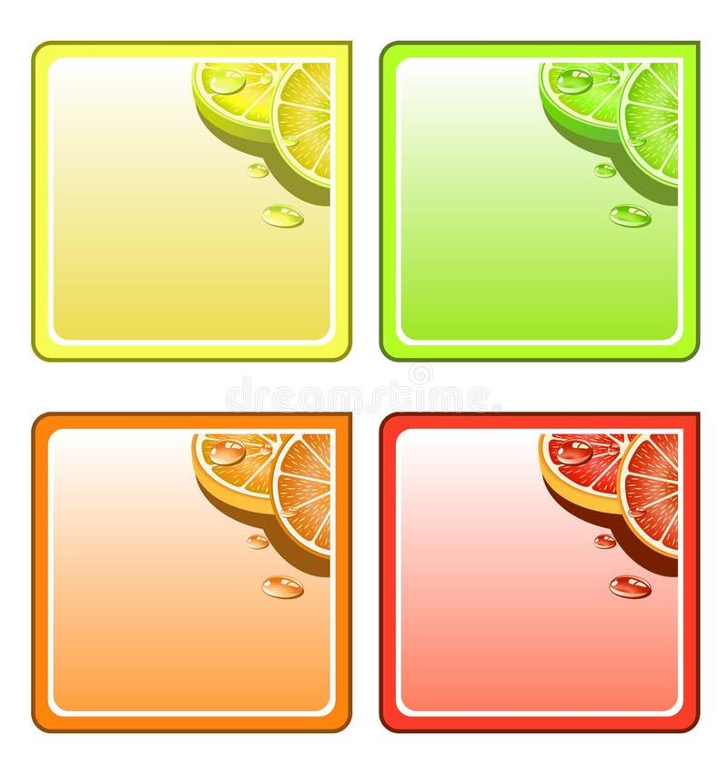 Conjunto del práctico de costa de la fruta stock de ilustración