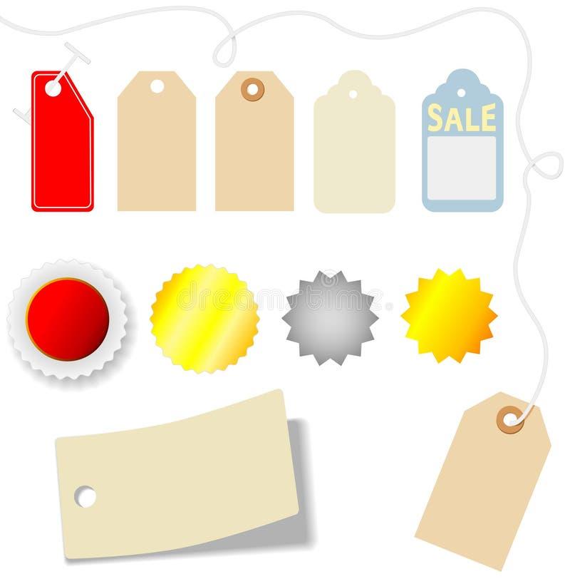 Conjunto del precio y de la etiqueta engomada ilustración del vector