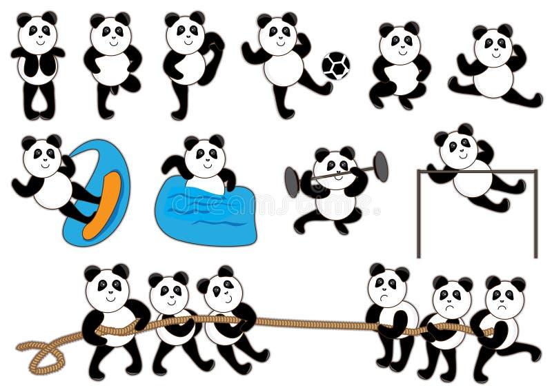 Conjunto del punto de la panda ilustración del vector