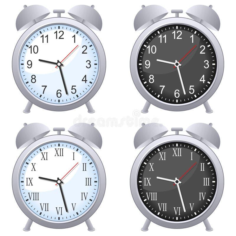 Conjunto del reloj de alarma stock de ilustración