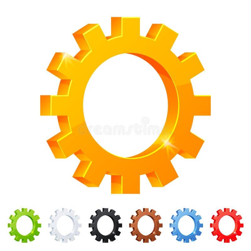Conjunto del símbolo de 7 configuraciones en diversos colores stock de ilustración
