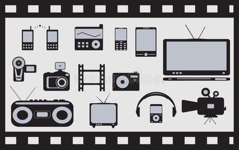 Conjunto del satélite, audio, objetos técnicos video stock de ilustración