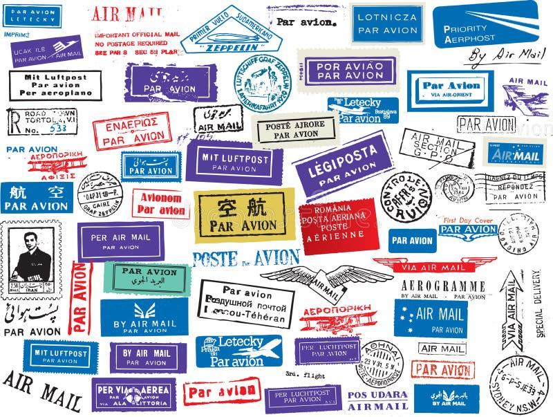 Conjunto del sello del correo aéreo stock de ilustración