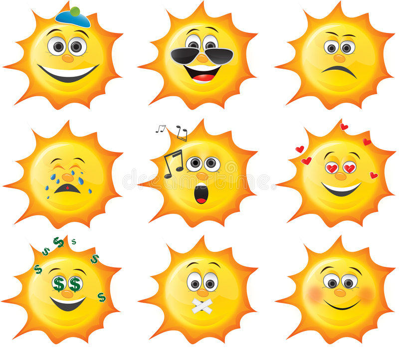 Conjunto del smiley del sol de la historieta stock de ilustración