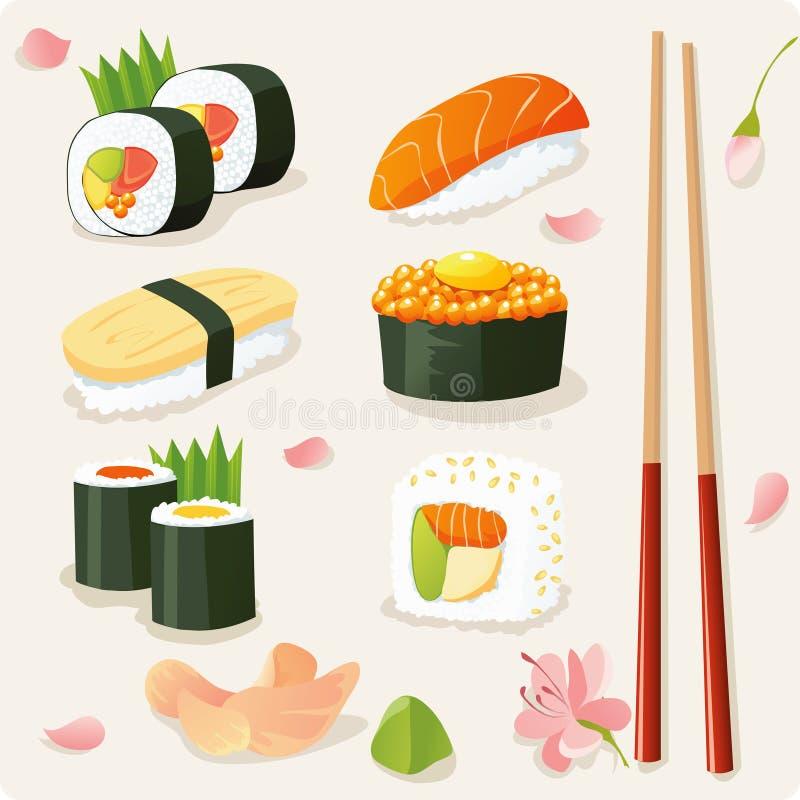 Conjunto del sushi ilustración del vector