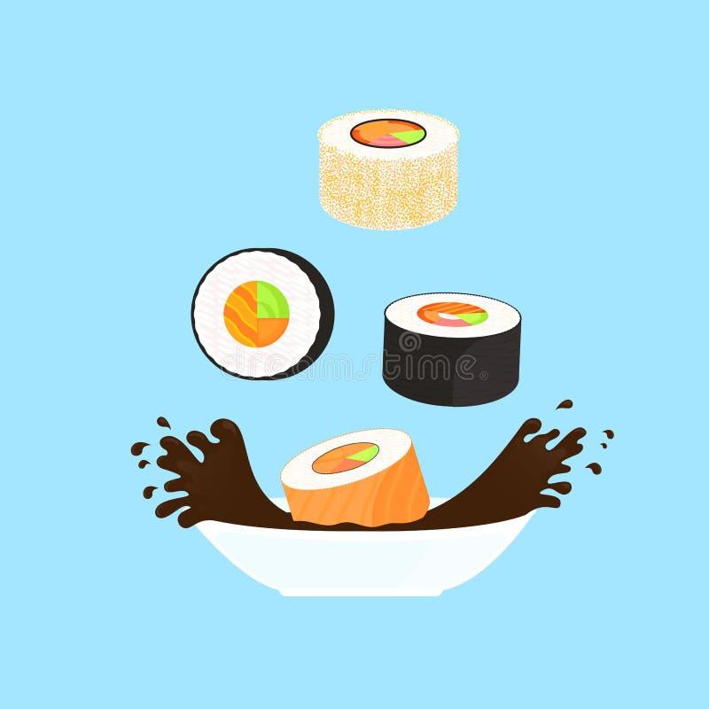 Conjunto del sushi Caída de Rolls en un cuenco con la salsa de soja Alimento japon?s tradicional ilustración del vector