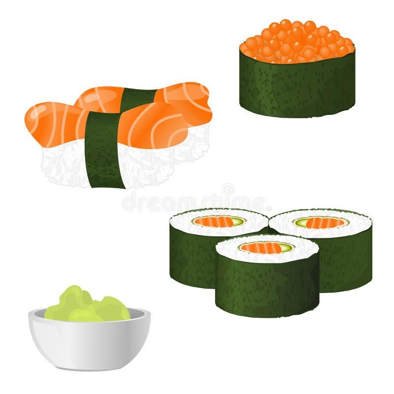 Conjunto del sushi del vector ilustración del vector