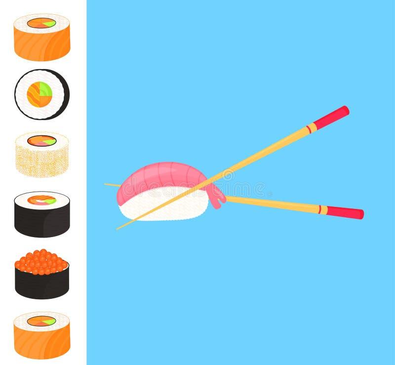 Conjunto del sushi Rolls con el caviar de los pescados rojos, nigiri con el camarón Alimento japon?s tradicional palillos stock de ilustración