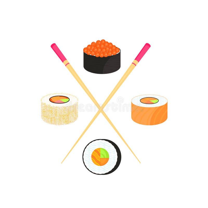 Conjunto del sushi Rolls con el caviar de pescados rojos, con los salmones Alimento japon?s tradicional stock de ilustración