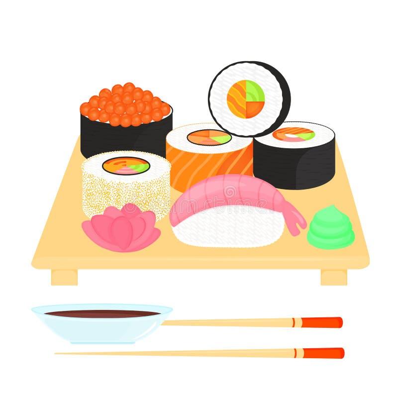 Conjunto del sushi Rolls con el caviar de pescados rojos, con los salmones, nigiri con el camarón Alimento japon?s tradicional Sa ilustración del vector