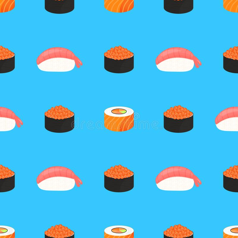 Conjunto del sushi Rolls con el caviar de pescados rojos, con los salmones Nigiri del sushi con el camar?n Alimento japon?s tradi libre illustration