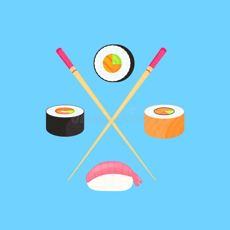 Conjunto del sushi Rolls con los salmones y nigiri con el camarón Alimento japon?s tradicional stock de ilustración
