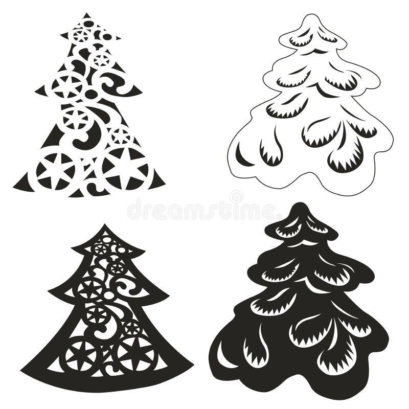 Conjunto del vector de árboles de navidad libre illustration