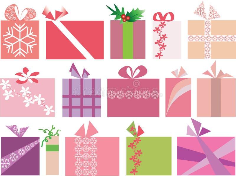 Conjunto del vector de 15 regalos de la Navidad stock de ilustración