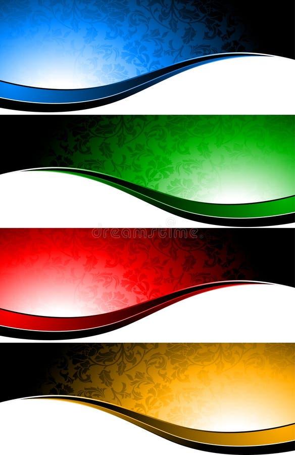 Conjunto del vector de banderas con la flor ilustración del vector