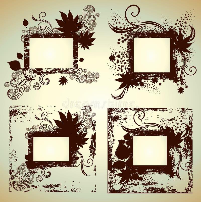 Conjunto del vector de bastidores con las hojas. Acción de gracias stock de ilustración