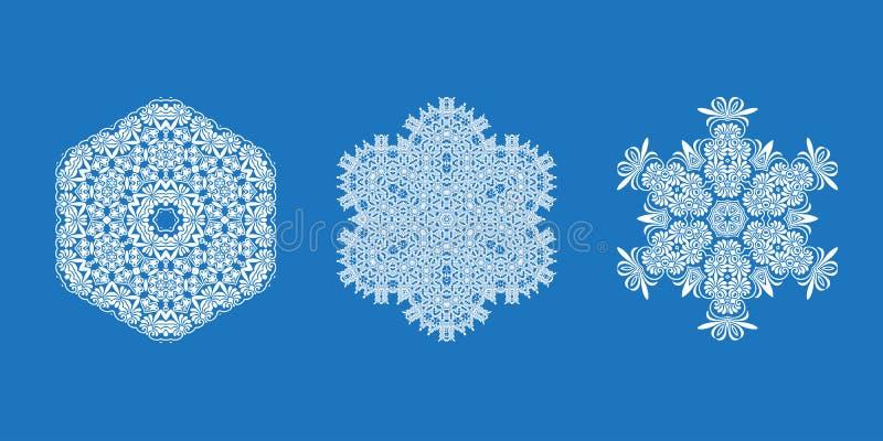 Conjunto del vector de copos de nieve stock de ilustración