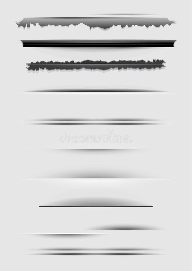 Conjunto del vector de divisores abstractos aislados en gris stock de ilustración