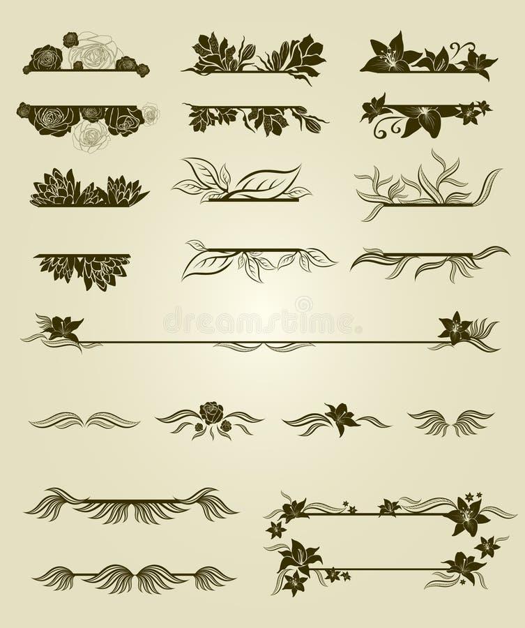 Conjunto del vector de elementos del diseño de la vendimia con las flores libre illustration