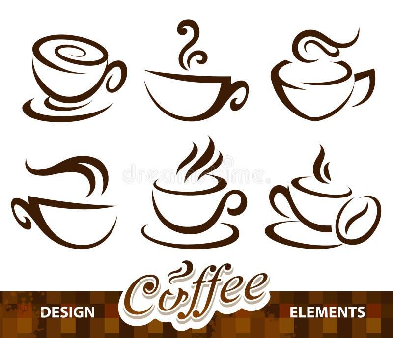 Conjunto del vector de elementos del diseño del café stock de ilustración