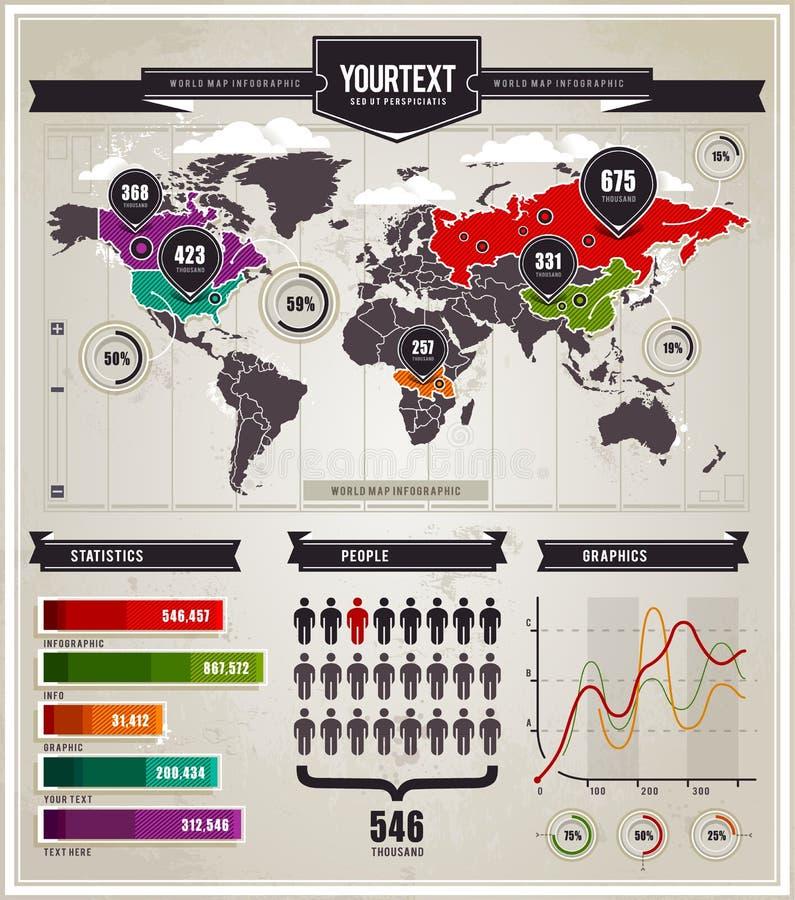 Conjunto del vector de elementos del infographics. ilustración del vector
