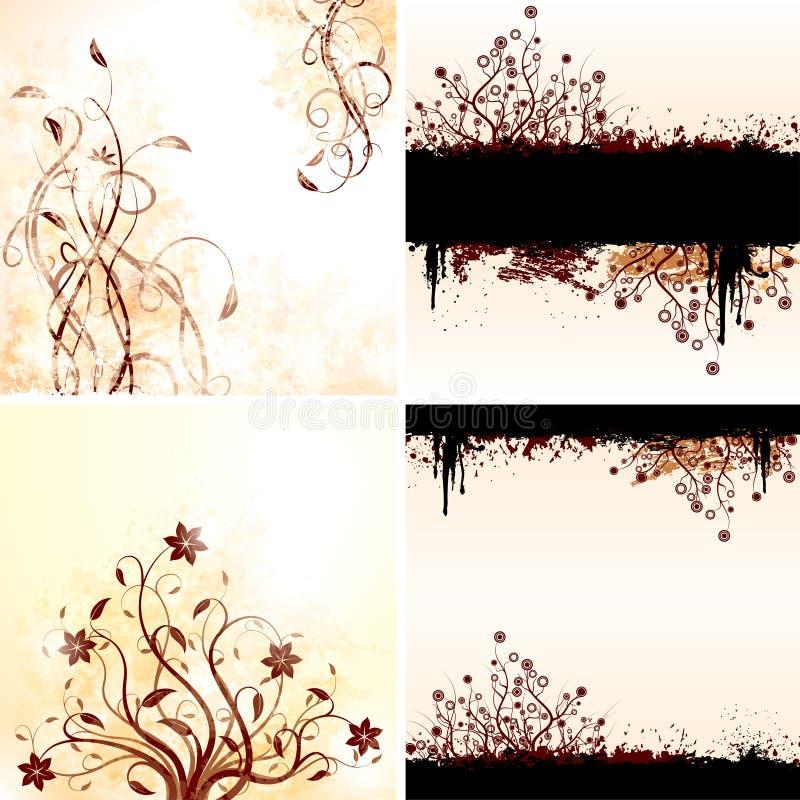 Conjunto del vector de fondos florales del grunge libre illustration