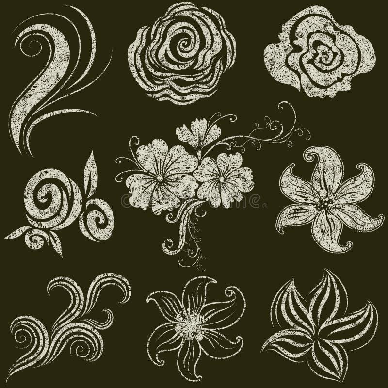 Conjunto del vector de hojas y de flores del grunge libre illustration