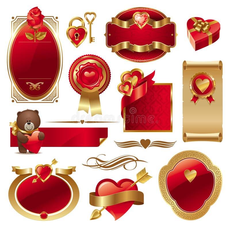 Conjunto del vector de la tarjeta del día de San Valentín stock de ilustración