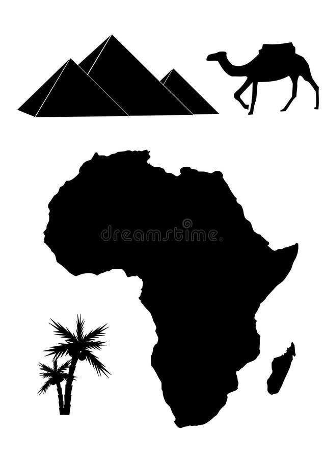 Conjunto del vector de las siluetas de África ilustración del vector
