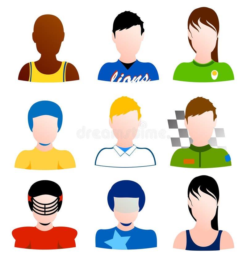 Conjunto del vector de los avatares del deporte de atletas stock de ilustración