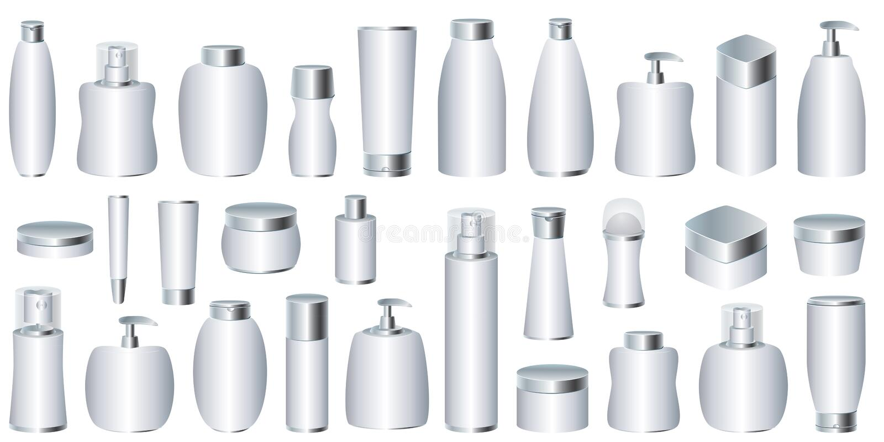 Conjunto del vector de los conjuntos cosméticos de plata stock de ilustración