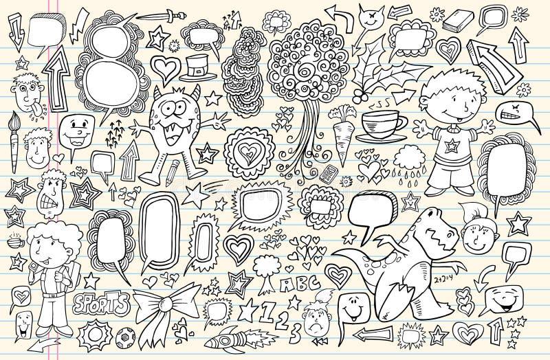 Conjunto del vector de los elementos del diseño del Doodle del cuaderno libre illustration