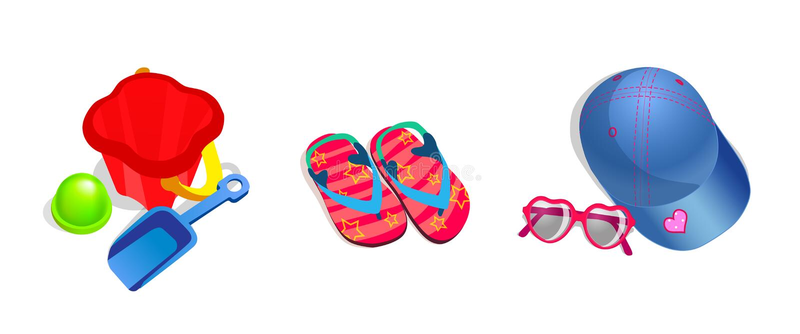 Conjunto del vector de objetos de la playa de los niños stock de ilustración