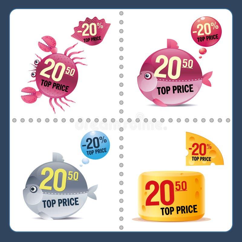 Conjunto del vector de precios stock de ilustración