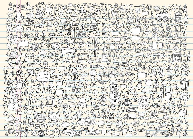 Conjunto del vector del cuaderno del bosquejo del Doodle stock de ilustración