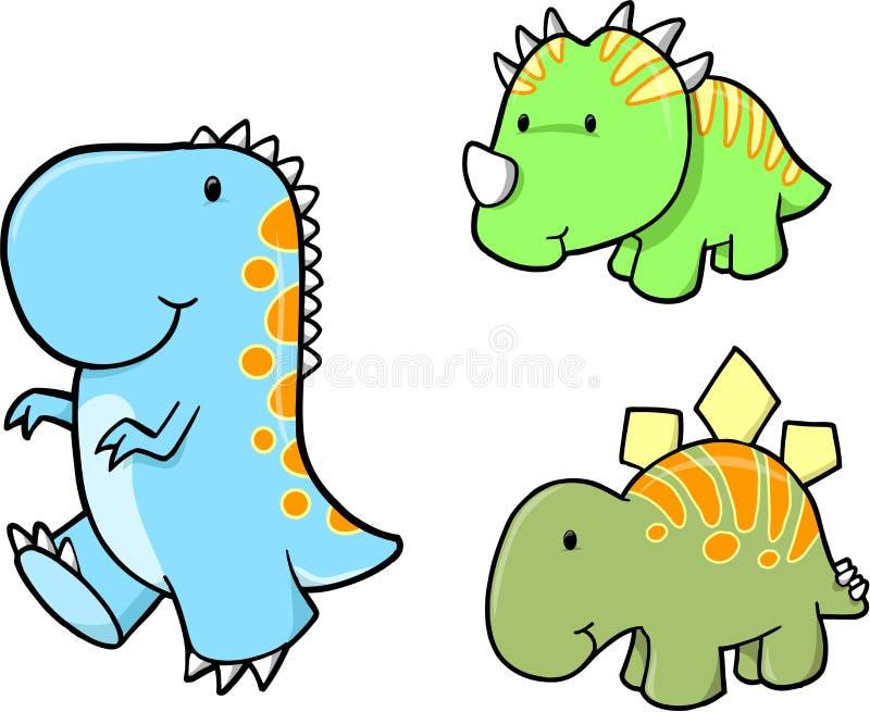 Conjunto del vector del dinosaurio del bebé ilustración del vector