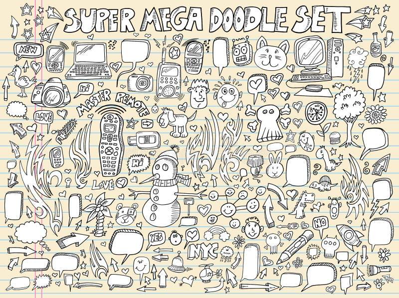 Conjunto del vector del diseño del bosquejo del Doodle del cuaderno ilustración del vector