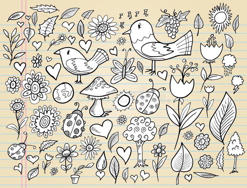 Conjunto del vector del diseño del tiempo de resorte del Doodle libre illustration