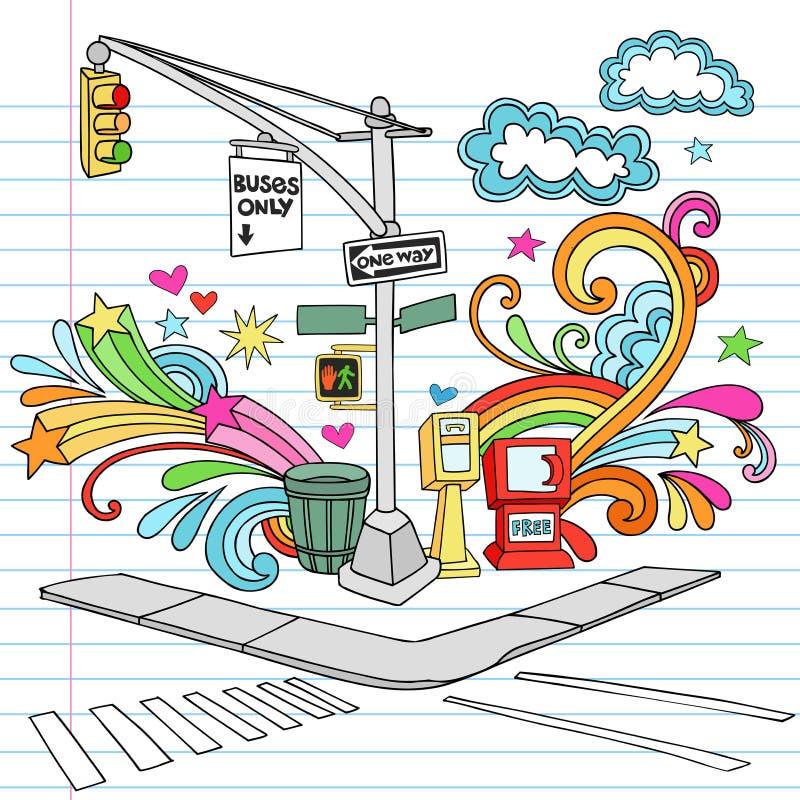 Conjunto del vector del Doodle del cuaderno de la acera de New York City stock de ilustración