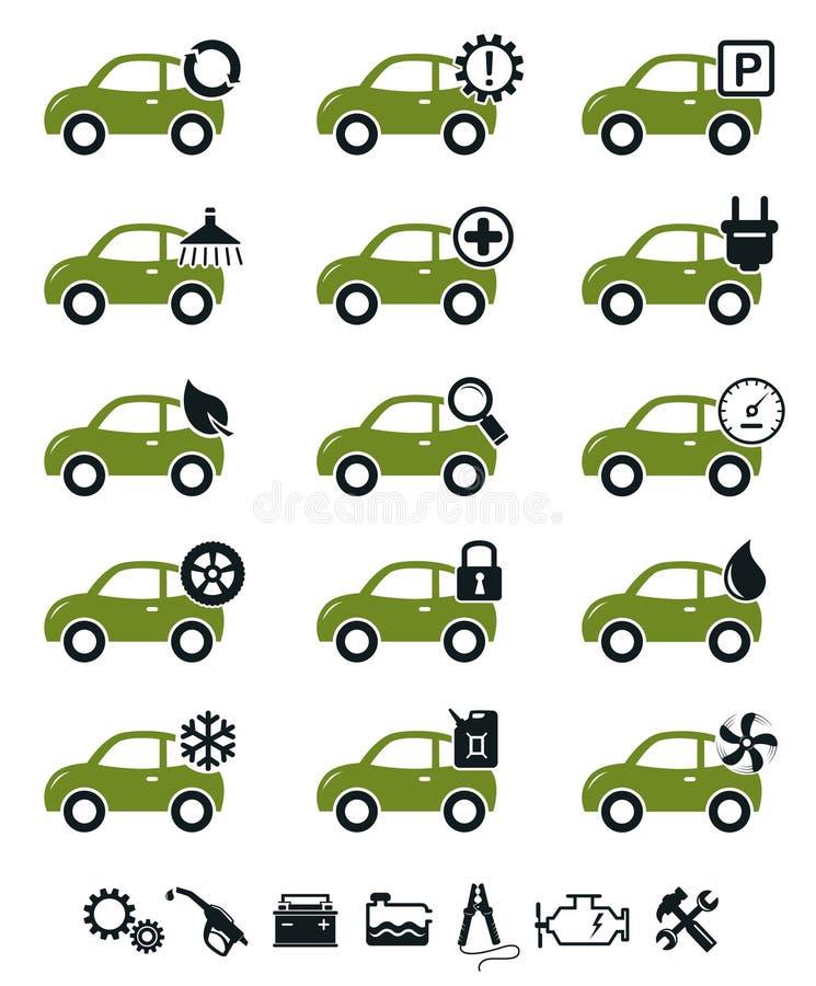Conjunto del verde de los iconos del servicio del coche stock de ilustración