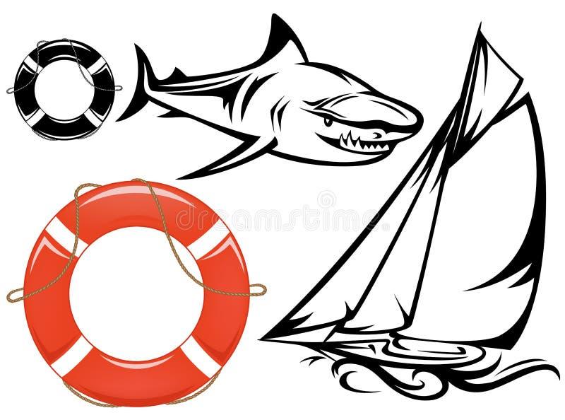 Conjunto del viaje del mar stock de ilustración