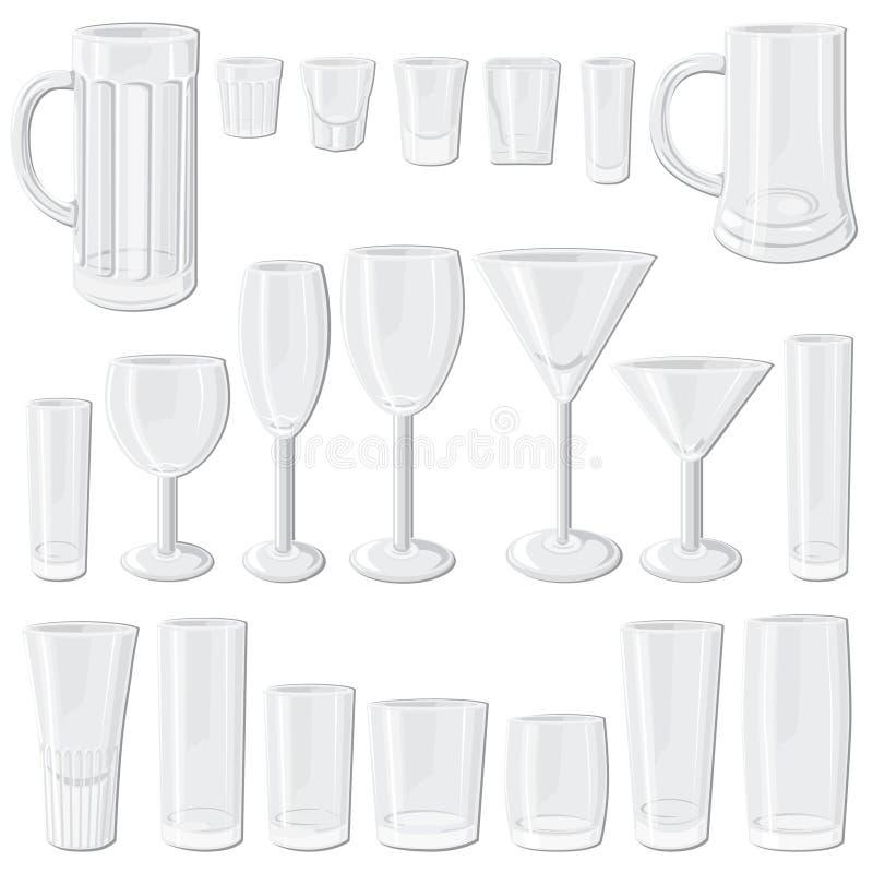 Conjunto del vidrio ilustración del vector