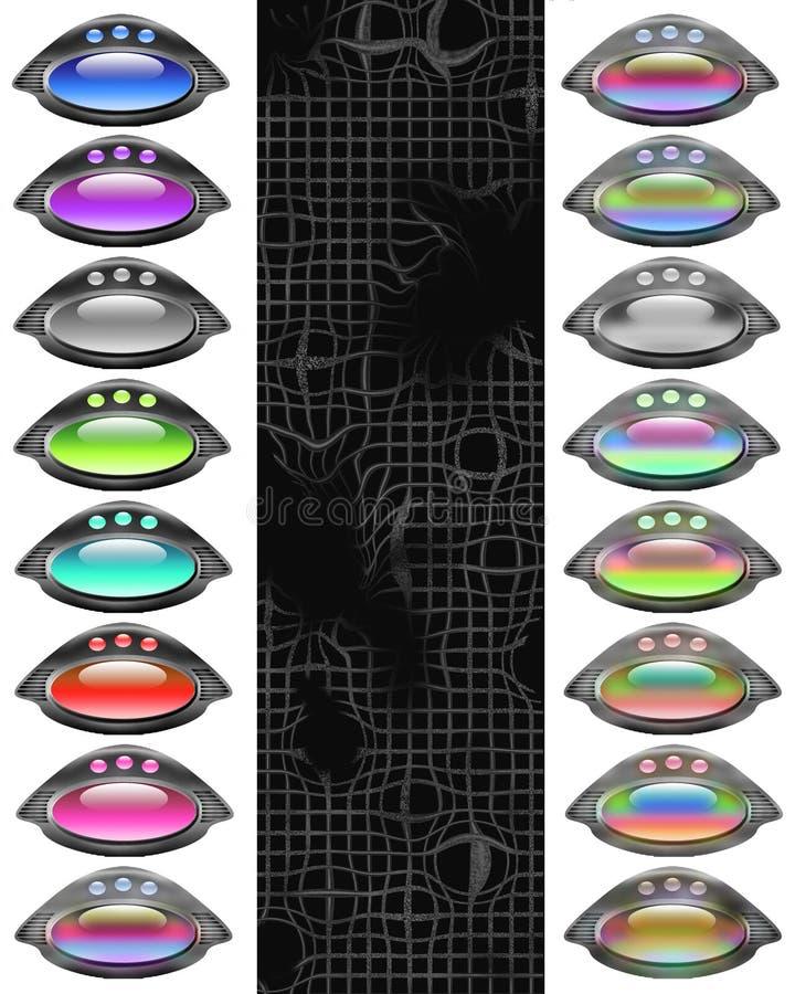 conjunto del Web de 16 botones ilustración del vector