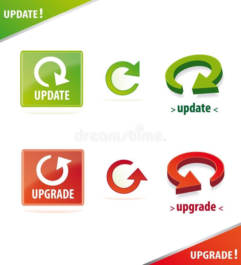 Conjunto dimensional del icono de la actualización y de la mejora libre illustration